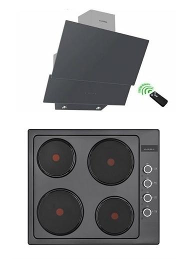 Luxell Luxell Antrasit Gri 8 Prog. Ddt Dijital Dokunmatik Hotpleyt Elektrikli Ocaklı Ankastre Set Siyah